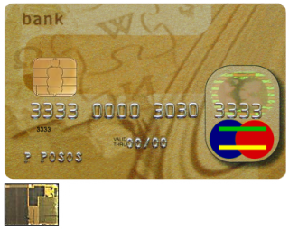 EMV Smartcard showing contact area and image of microchip