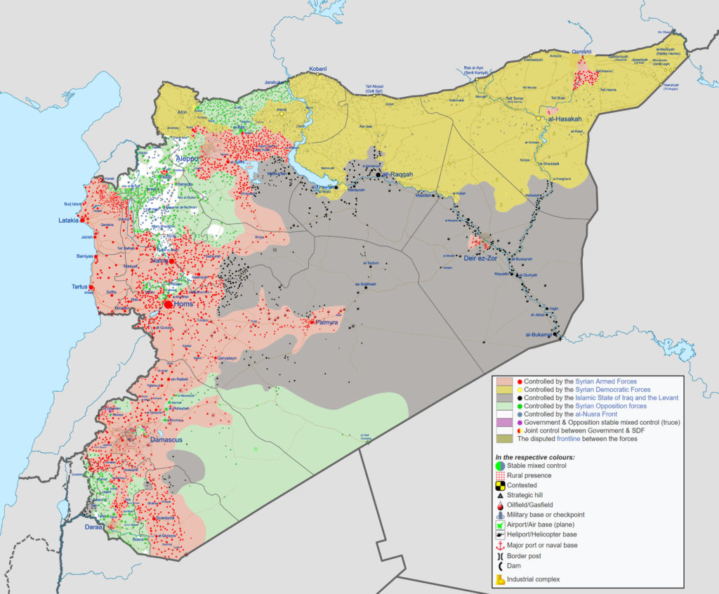 Syrian Civil War map, modified Wikipedia image