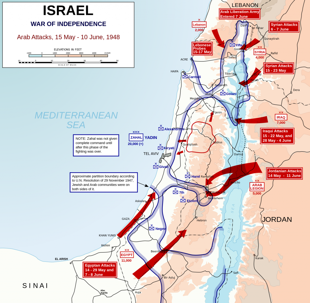 1948 Arab Israeli War, Arab attack paths, Wikipedia