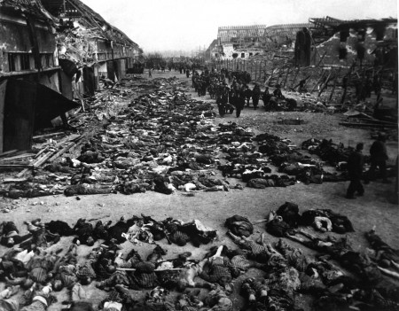 Rows of dead bodies fill the yard of Lager Nordhausen, a German concentration camp