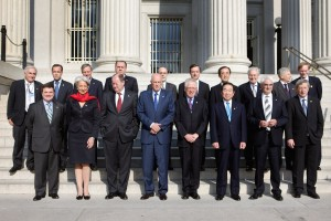 G7 finance ministers (front row) and central bank governors (back row) gather for a group picture