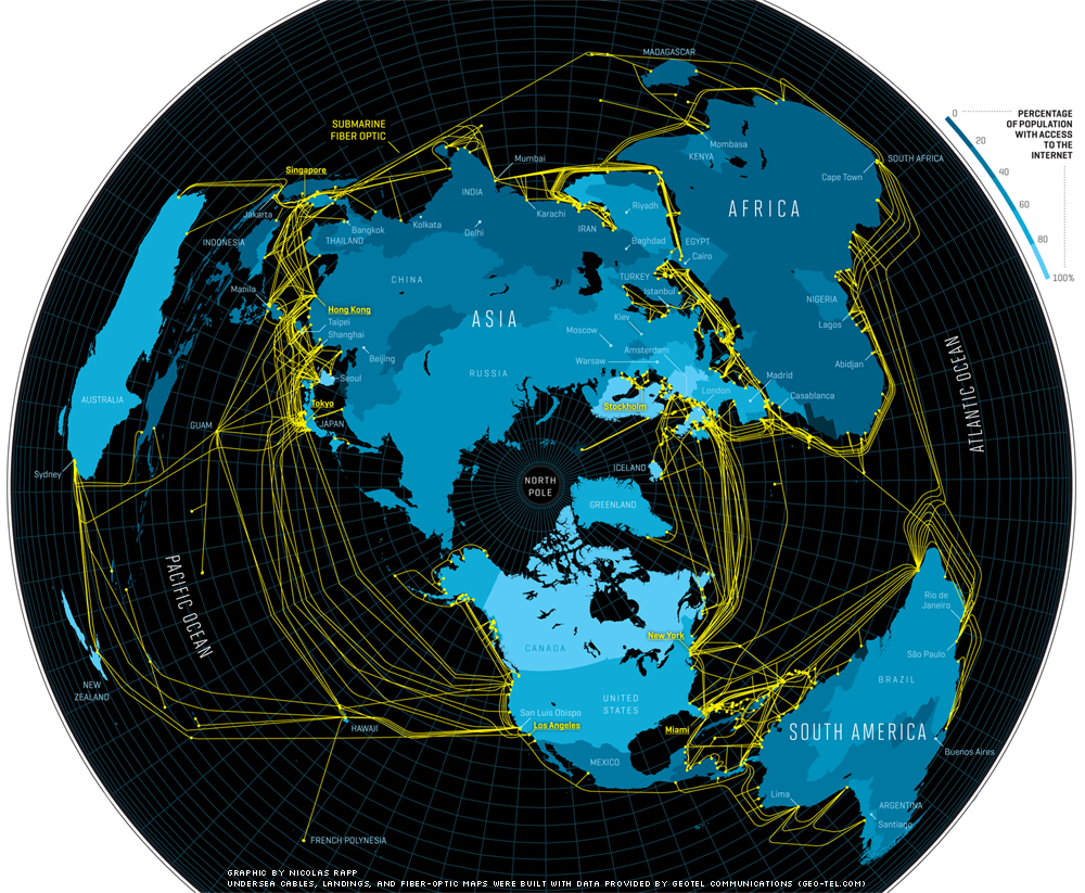 Undersea network cables, world map, by Nicolas Rapp with data from Geo-Tel Communications
