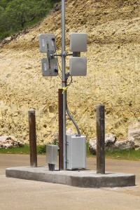 RFID antenna, gated community, by Larry Moore, Wikipedia