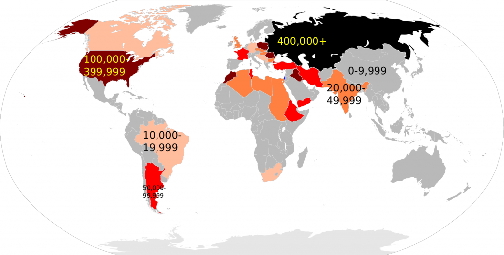 Countries of origin for returning Jews, Wikipedia