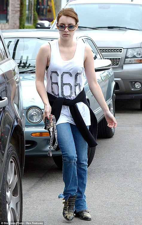 Emma Roberts, 666 shirt, mediaexposed.tumblr.com