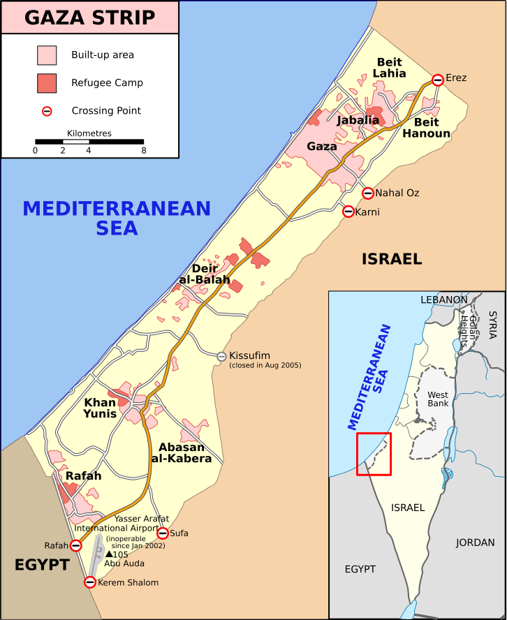 Gaza Strip map showing major cities and refugee camps