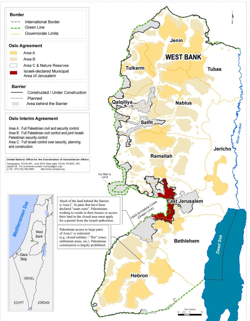 Restrictions on Palestinian Access in the West Bank, UN map