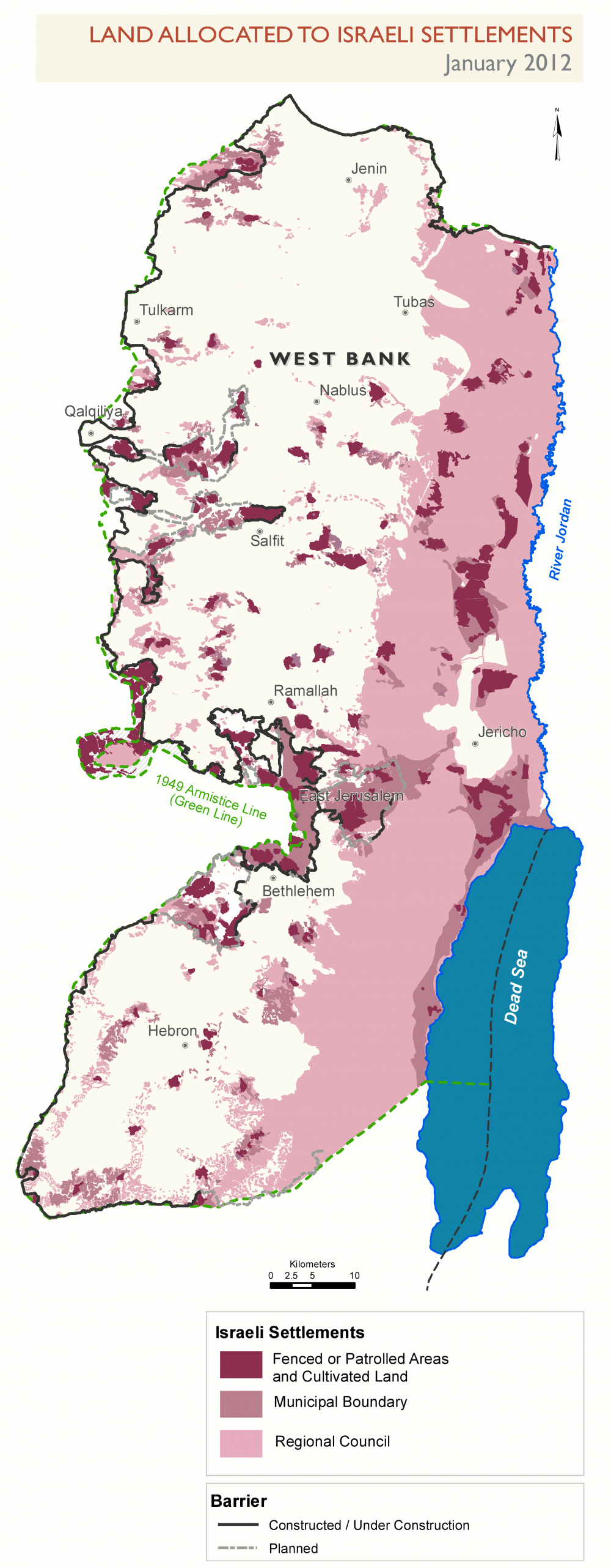 West Bank Settlements and barrier, 2012, Wikipedia