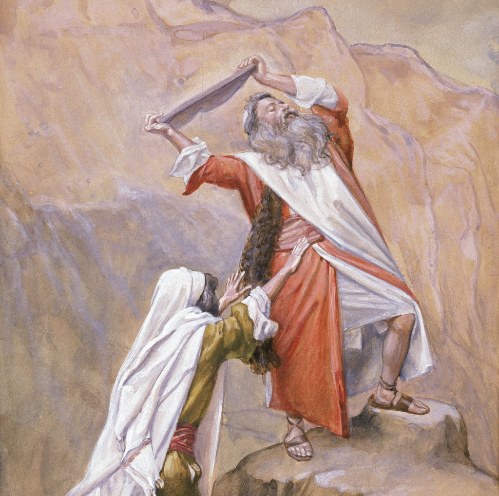 Moses breaking the Tablets, Tissot