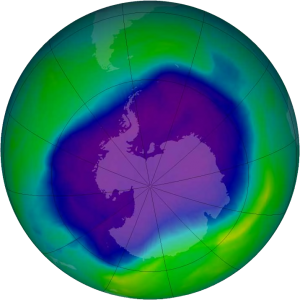 Largest ozone hole over Antarctica, NASA and NOAA image, Wikipedia