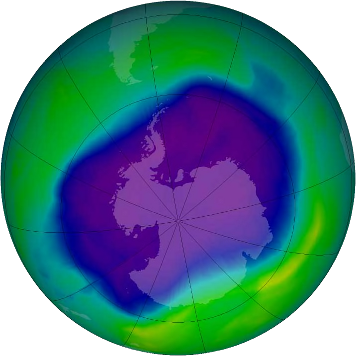 Largest ozone hole over Antarctica, NASA and NOAA image, Wikipedia