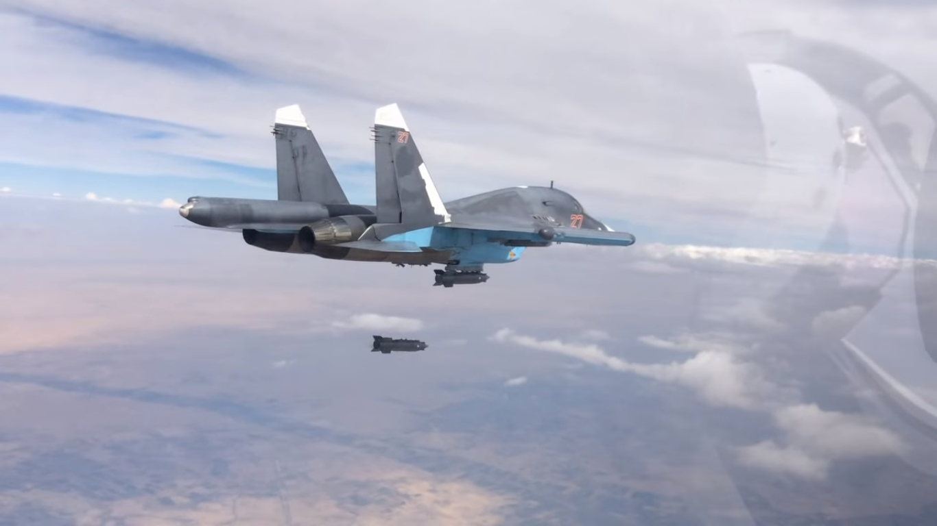 Russian Su-34 conducting airstrike in Syria, from mil,ru