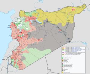 Syrian Civil War map, modified Wikipedia image