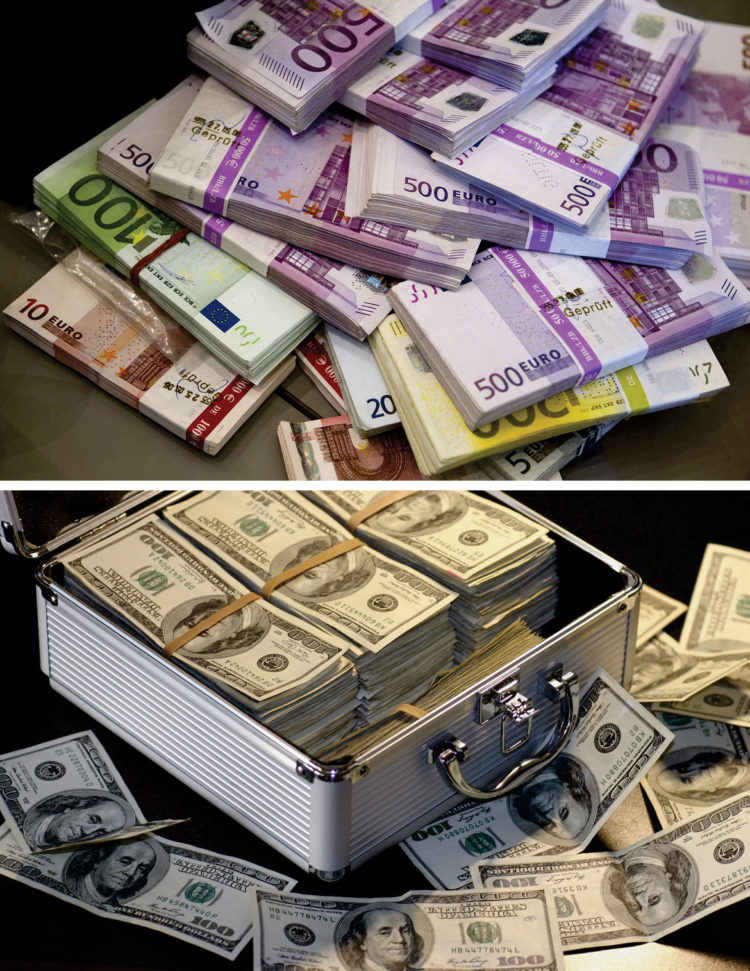 Euro & USD money stacks, Pixabay images