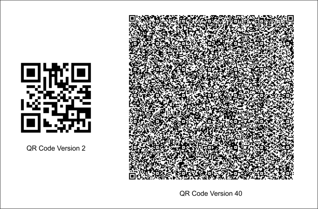 QR Codes version 2 and version 40